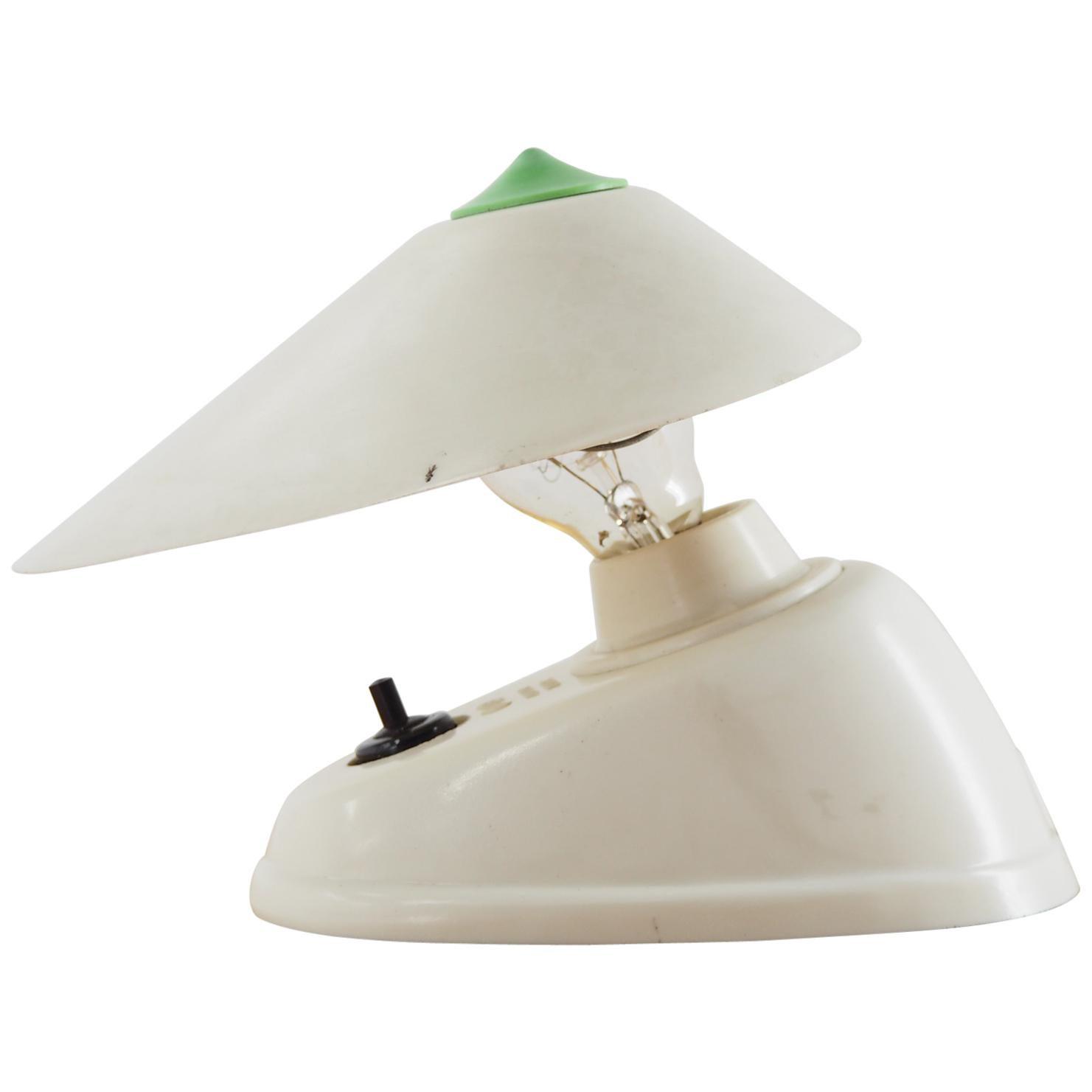 Midcentury White Bakelite Table or Wall Lamp, 1960s