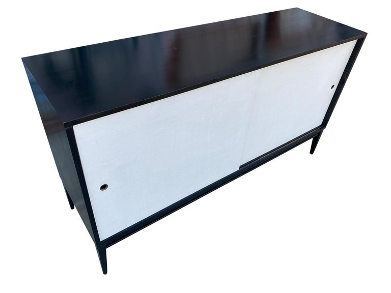 Mid-Century Modern Midcentury White Door Credenza Paul McCobb Planner Group #1514 Black Lacquer For Sale