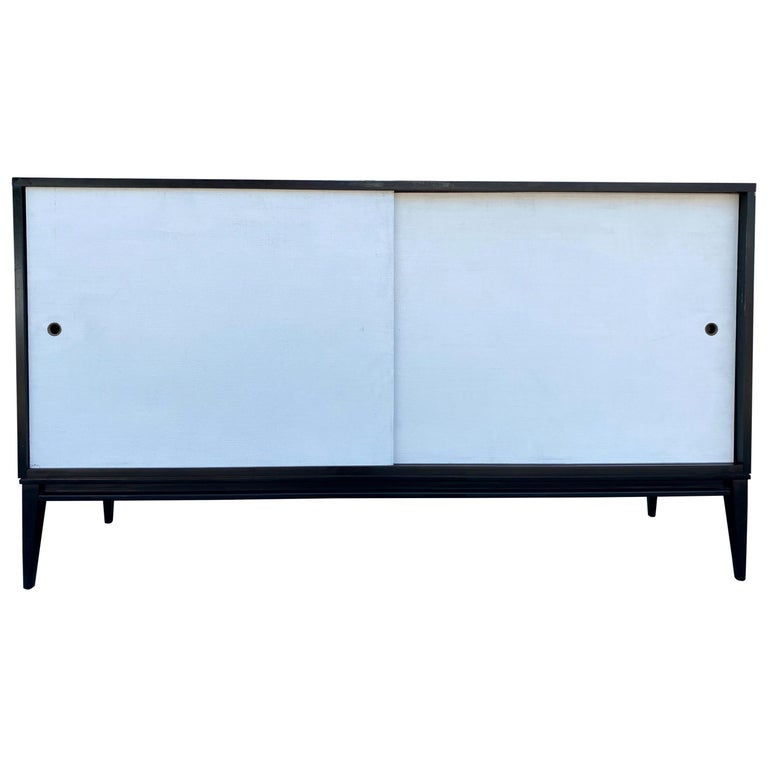 Midcentury White Door Credenza Paul McCobb Planner Group #1514 Black Lacquer For Sale