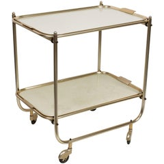 Midcentury White Formica and Aluminium Italian Serving Bar Cart, 1950s