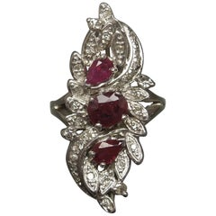 Midcentury White Gold Ruby Bouquet Ring
