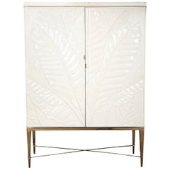 Midcentury White Lacquered Bar Cabinet