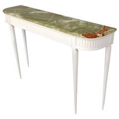 Midcentury White Lacquered Beech Console Table with Onyx Top, Italy, 1940s