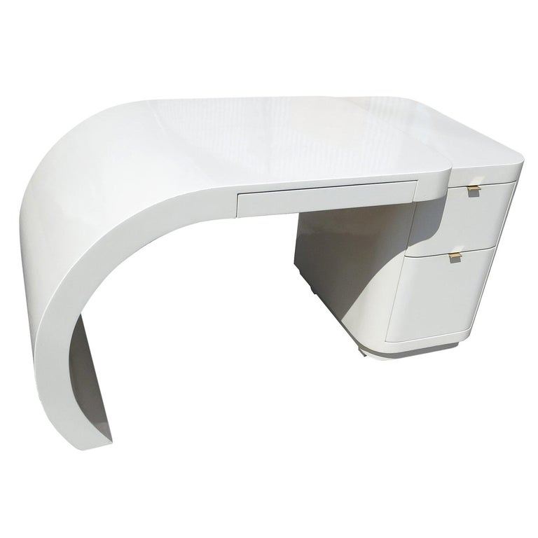 Midcentury White Lacquered Desk For Sale
