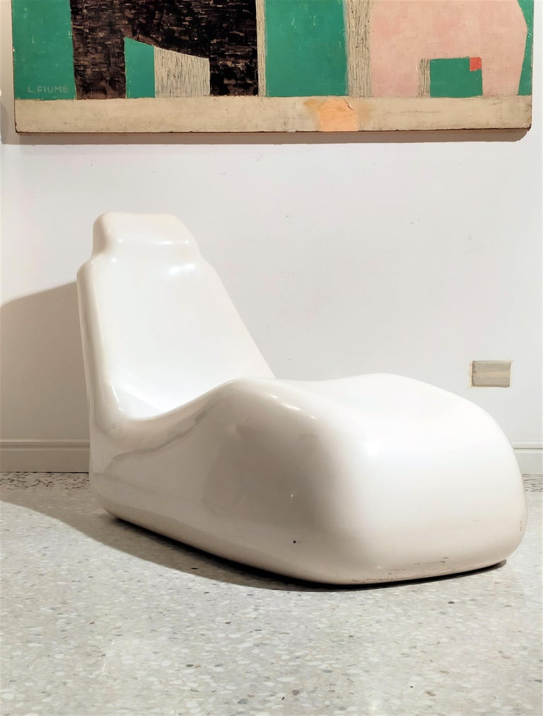 Midcentury White Lounge Chair