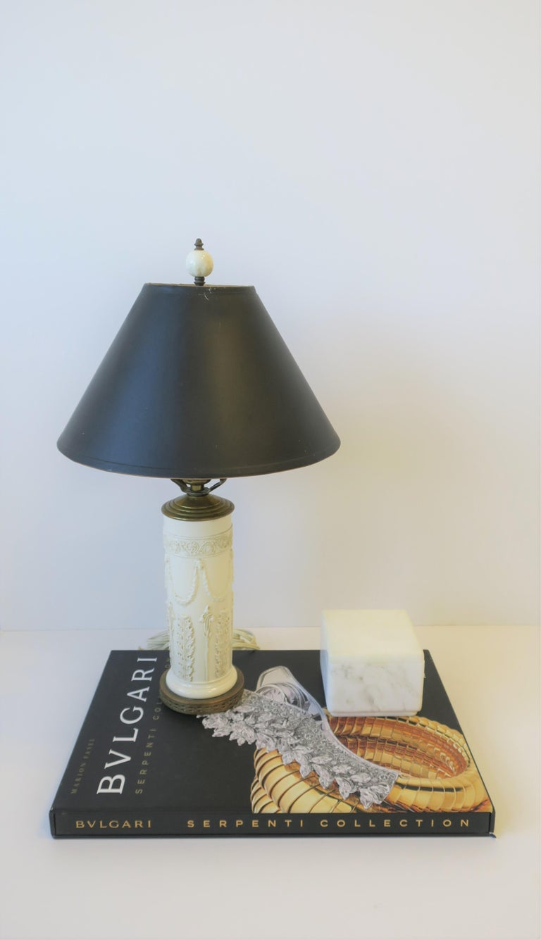 English Midcentury White Neoclassical Table or Desk Lamp with Black Shade For Sale