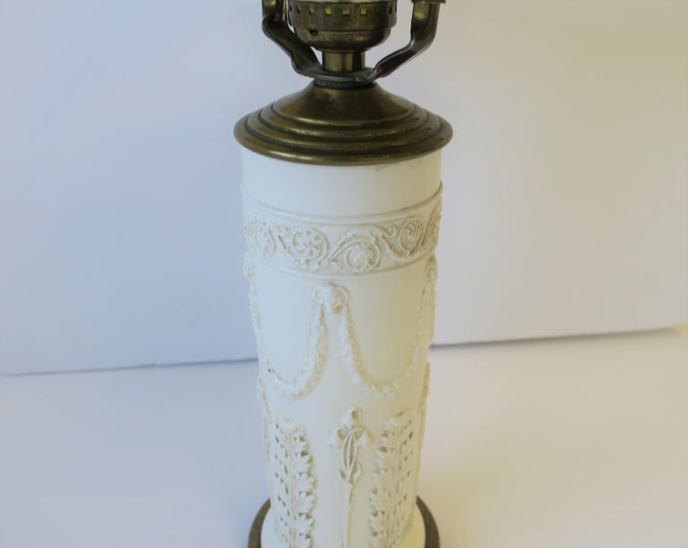 20th Century Midcentury White Neoclassical Table or Desk Lamp with Black Shade For Sale