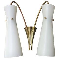 Midcentury White Opaline Glass Diabolo Wall Light