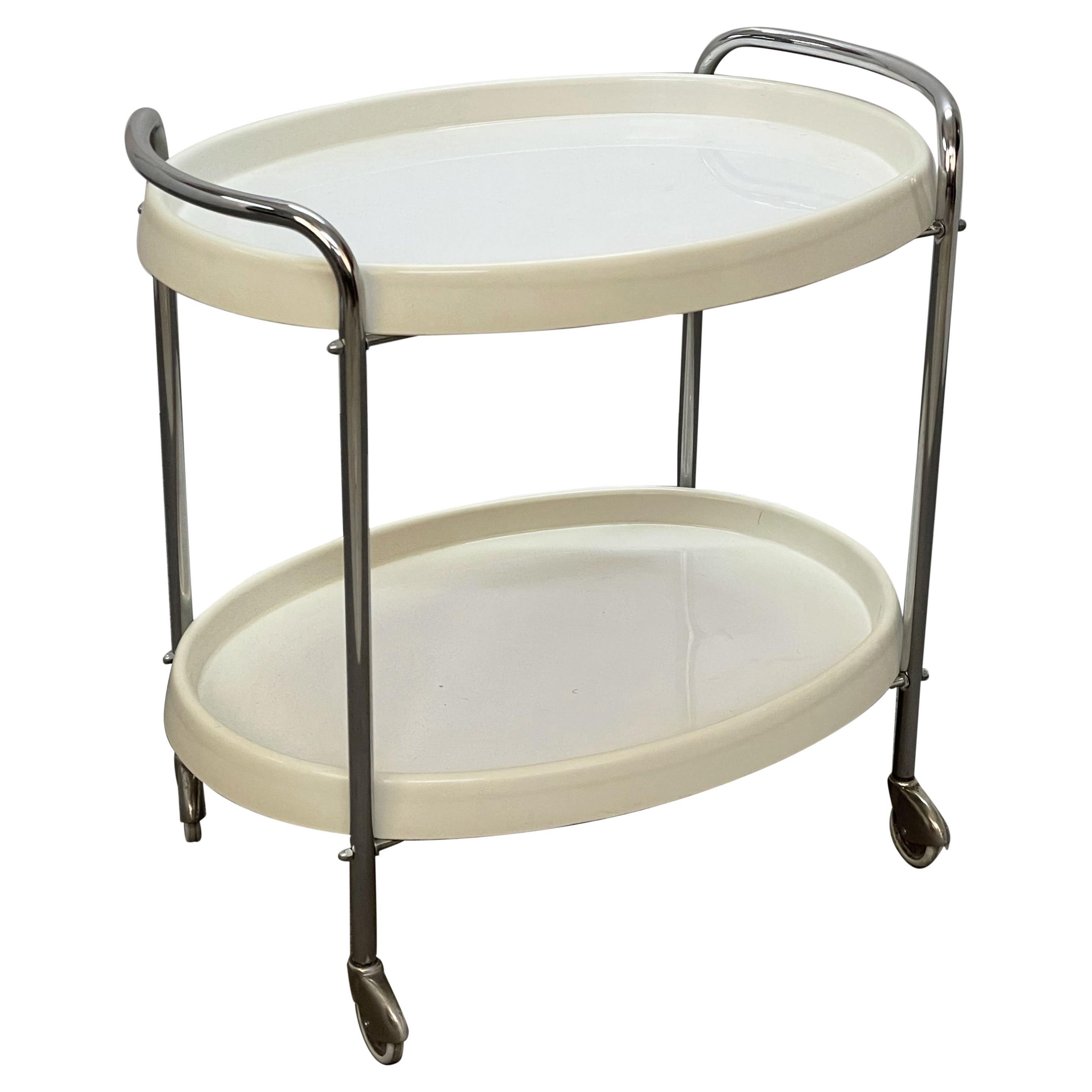 Midcentury White Plastic and Metal Chrome Italian Bar Cart Oval, 1950s