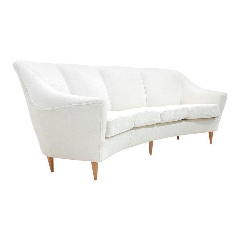 Midcentury White Velvet 4-Seat Italian Sofa, 1950s