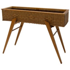 Midcentury Wicker and Beech Plant Stand, 1960s, Central Europe