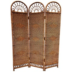Midcentury Wicker and Rattan Folding Screen