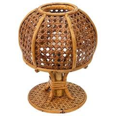 Midcentury Wicker and Rattan Italian Table Lamp, 1960s