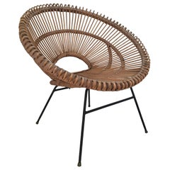 Midcentury Wicker Bucket Chair by J. Abraham and D. Jan Rol, France, circa 1960