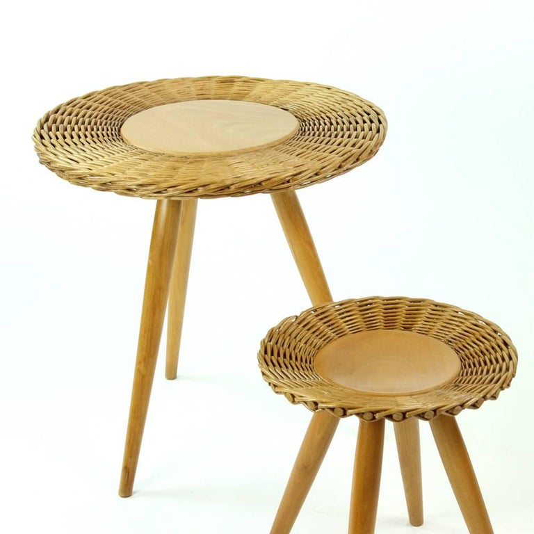 Mid-Century Modern Midcentury Wicker Coffee Table with Stool by Uluv, Czechoslovakia, circa 1960 For Sale