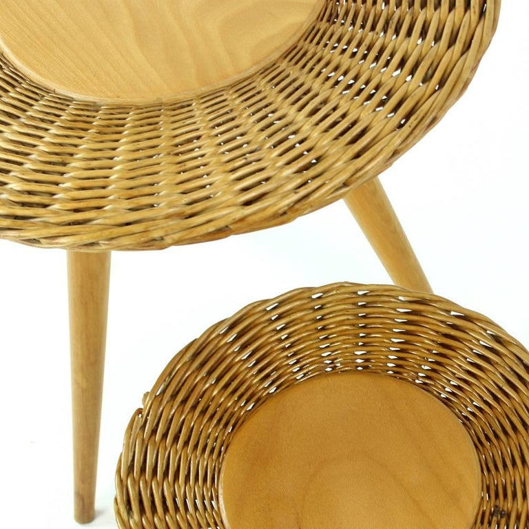 Slovakian Midcentury Wicker Coffee Table with Stool by Uluv, Czechoslovakia, circa 1960 For Sale