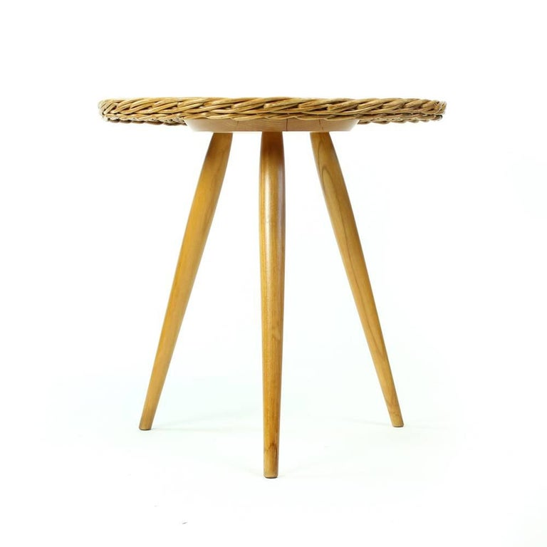 Midcentury Wicker Coffee Table with Stool by Uluv, Czechoslovakia, circa 1960 In Excellent Condition For Sale In Zohor, SK