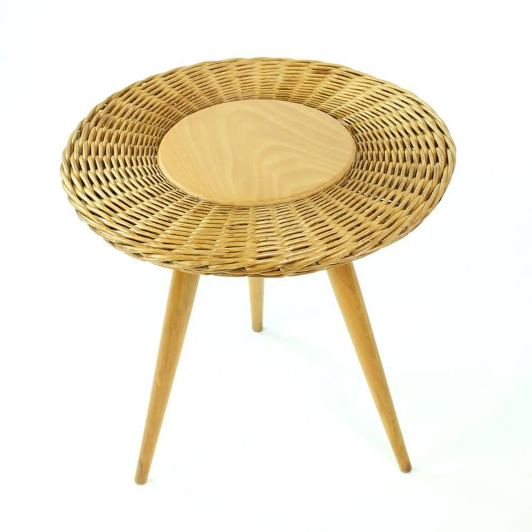 20th Century Midcentury Wicker Coffee Table with Stool by Uluv, Czechoslovakia, circa 1960 For Sale