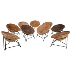 Midcentury Wicker Easy-Lounge-Patio Chair Designed in Europe, 1960s