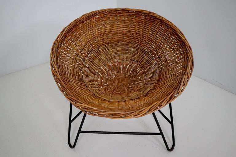 Mid-Century Modern Midcentury Wicker Easy Lounge Patio Chairs Designed in Europe, 1960s For Sale