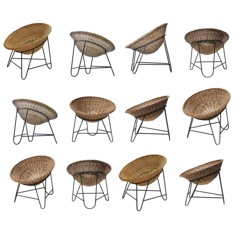 Midcentury Wicker Easy Lounge Patio Chairs Designed in Europe, 1960s For Sale