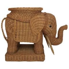 Midcentury Wicker Elephant, Side Table, Foot Stool
