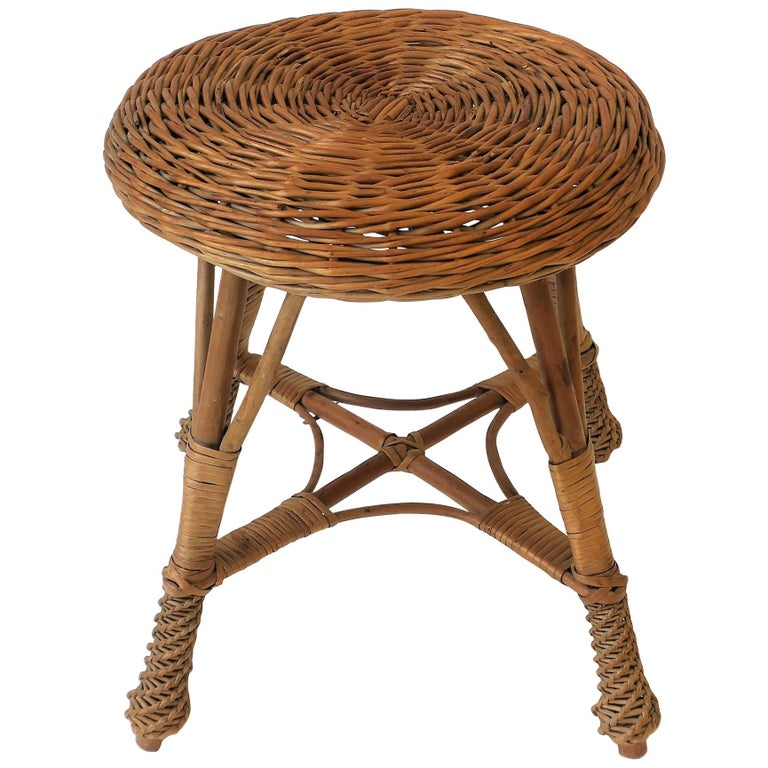 Midcentury Wicker Rattan And Wood Stool Or Side Table At