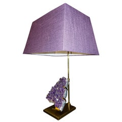 Midcentury Willy Daro Amethyst and Brass Adjustable Table Lamp
