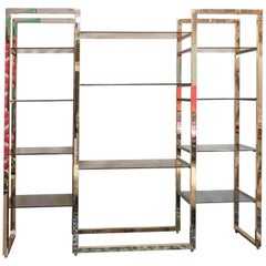 Midcentury Willy Rizzo Black Smoked  Glass and Gold-Plated Steel Shelf