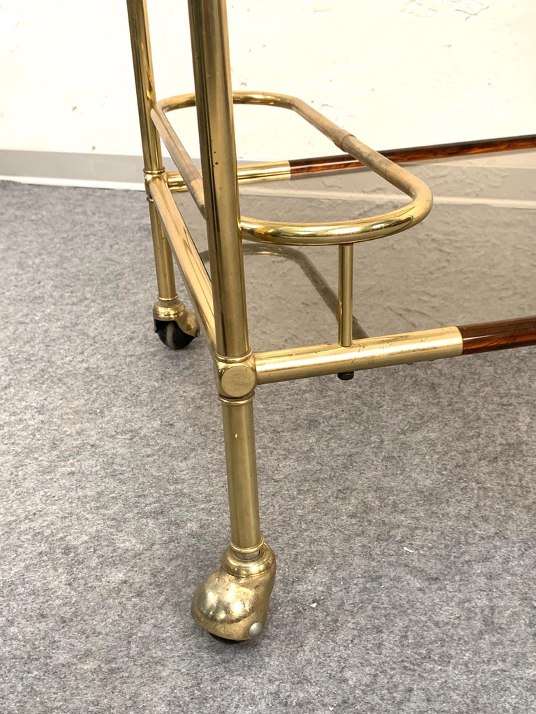 Midcentury Willy Rizzo Brass and Lucite Italian Trolley with Service Tray, 1980s For Sale 5