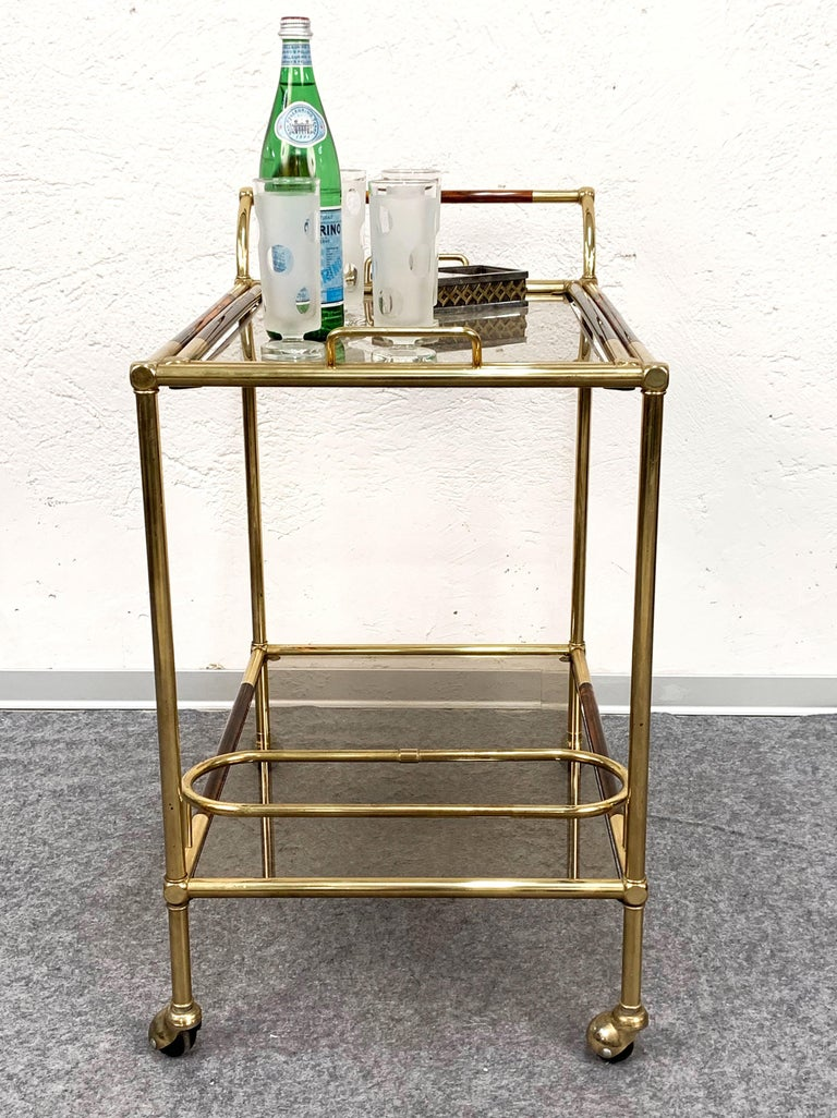 Midcentury Willy Rizzo Brass and Lucite Italian Trolley with Service Tray, 1980s For Sale 10