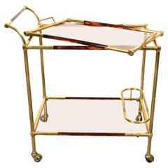 Midcentury Willy Rizzo Brass and Lucite Italian Trolley with Service Tray, 1980s