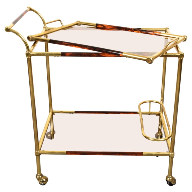 Midcentury Willy Rizzo Brass and Lucite Italian Trolley with Service Tray, 1980s For Sale
