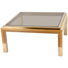 Midcentury Willy Rizzo Square Brass and Smoked Glass Italian Coffee Table, 1970s