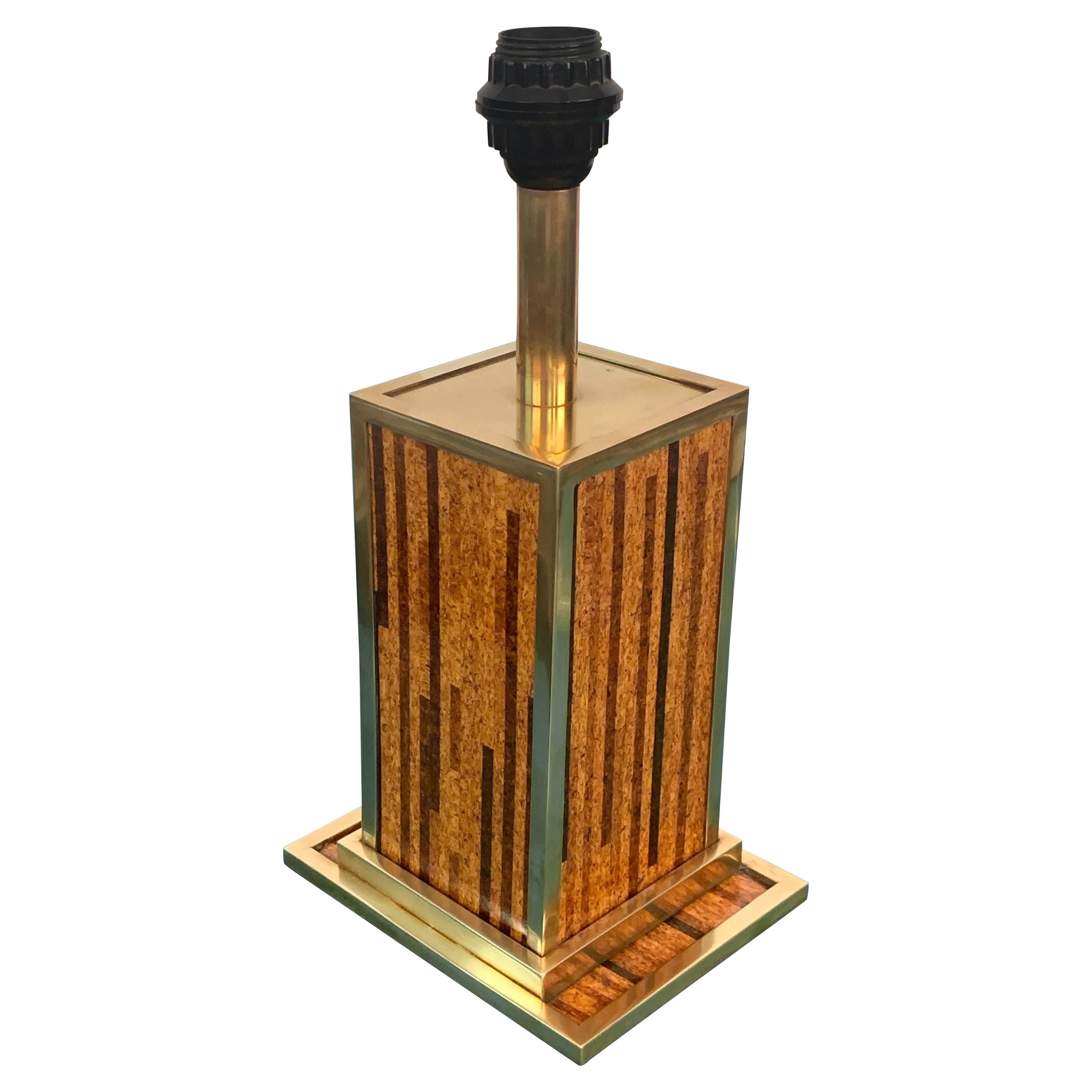 Midcentury Willy Rizzo Style Brass and Cork Table Lamp, 1970s