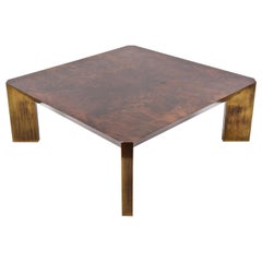 Midcentury Willy Rizzo Style Walnut and Brass Italian Coffee Table, 1970s