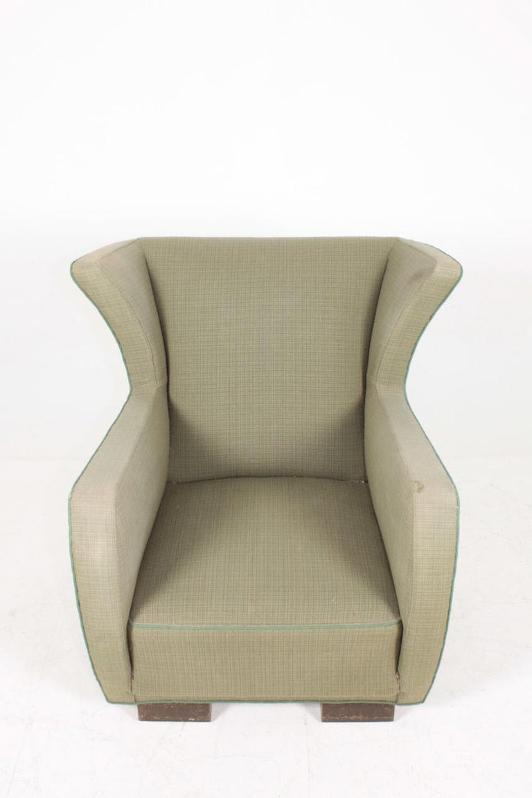 Mid-Century Modern Midcentury Wingback Chair, 1940s For Sale