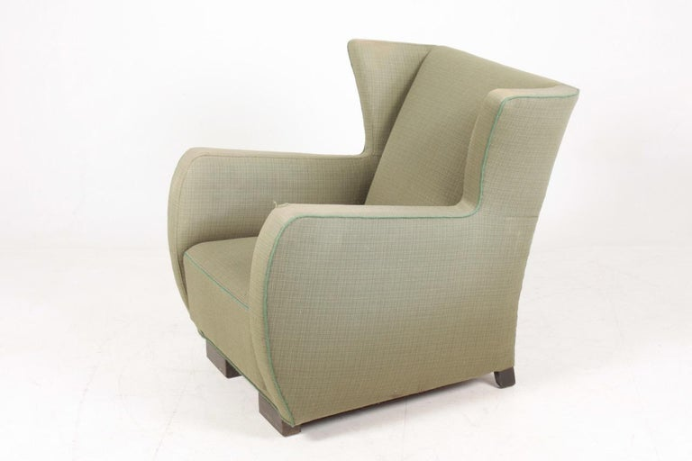 Danish Midcentury Wingback Chair, 1940s For Sale