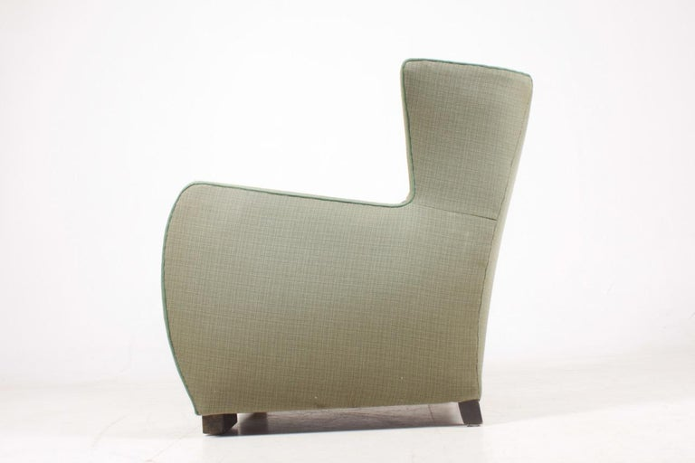 Midcentury Wingback Chair, 1940s In Fair Condition For Sale In Lejre, DK