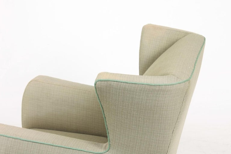 Fabric Midcentury Wingback Chair, 1940s For Sale