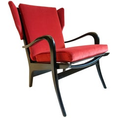 Midcentury Wingback Armchair in Red Velvet and Blackened Wood