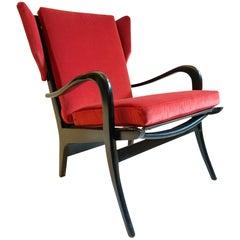 Midcentury Wingback Armchair in Red Velvet and Blackened Wood