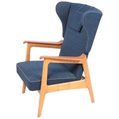 Midcentury Wingback Chair in Teak and Oak, Danish Design, 1960s