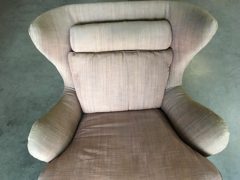 Midcentury Wingback Lounge Chair with Ottoman For Sale 3