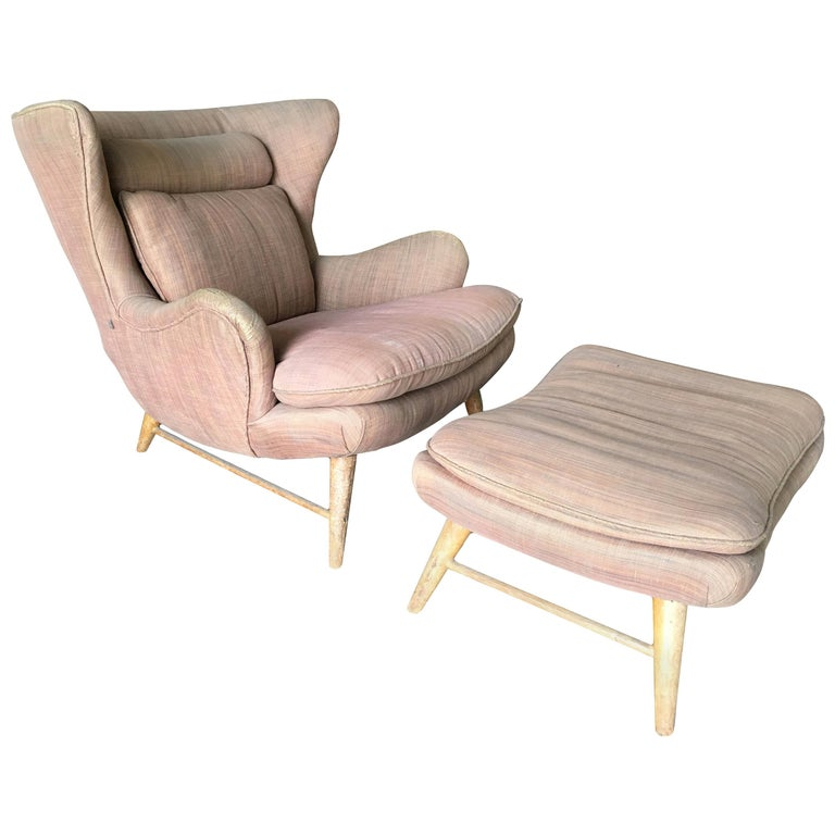 Midcentury Wingback Lounge Chair with Ottoman For Sale