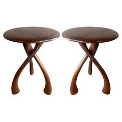 Midcentury Wishbone Side Tables in Walnut