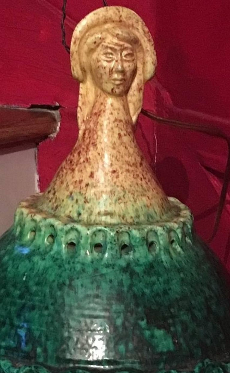 20th Century Midcentury Woman's Head Luminaire, Attributed to Accolay Pottery For Sale