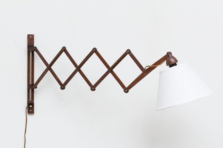 Mid-Century Modern Midcentury Wood Accordion Wall Mount Lamp For Sale