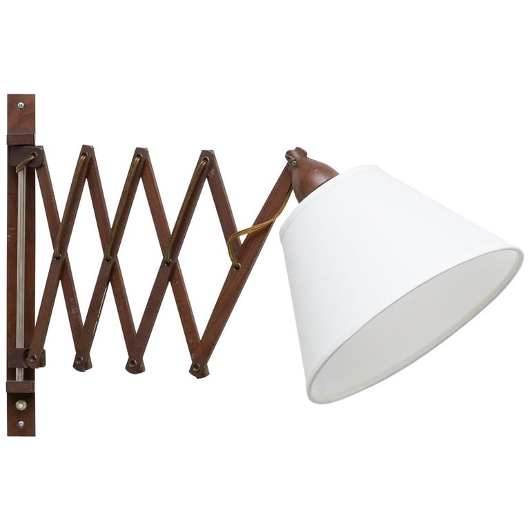Midcentury Wood Accordion Wall Mount Lamp For Sale