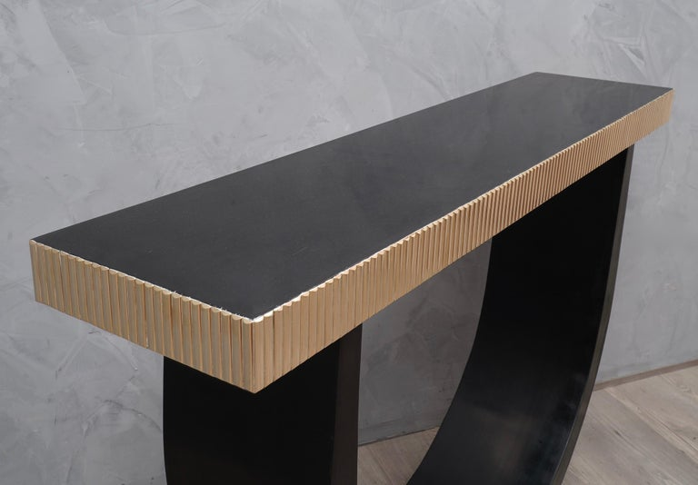 Italian Midcentury Wood and Brass Console Table, 1930 For Sale